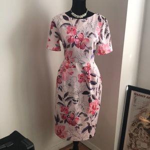 ASOS midi wiggle dress in floral watercolor print